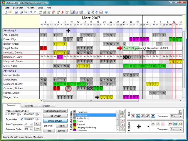 Screenshot vom Programm: ClicKalender