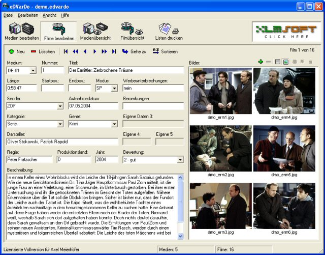 Screenshot vom Programm: eDVarDo