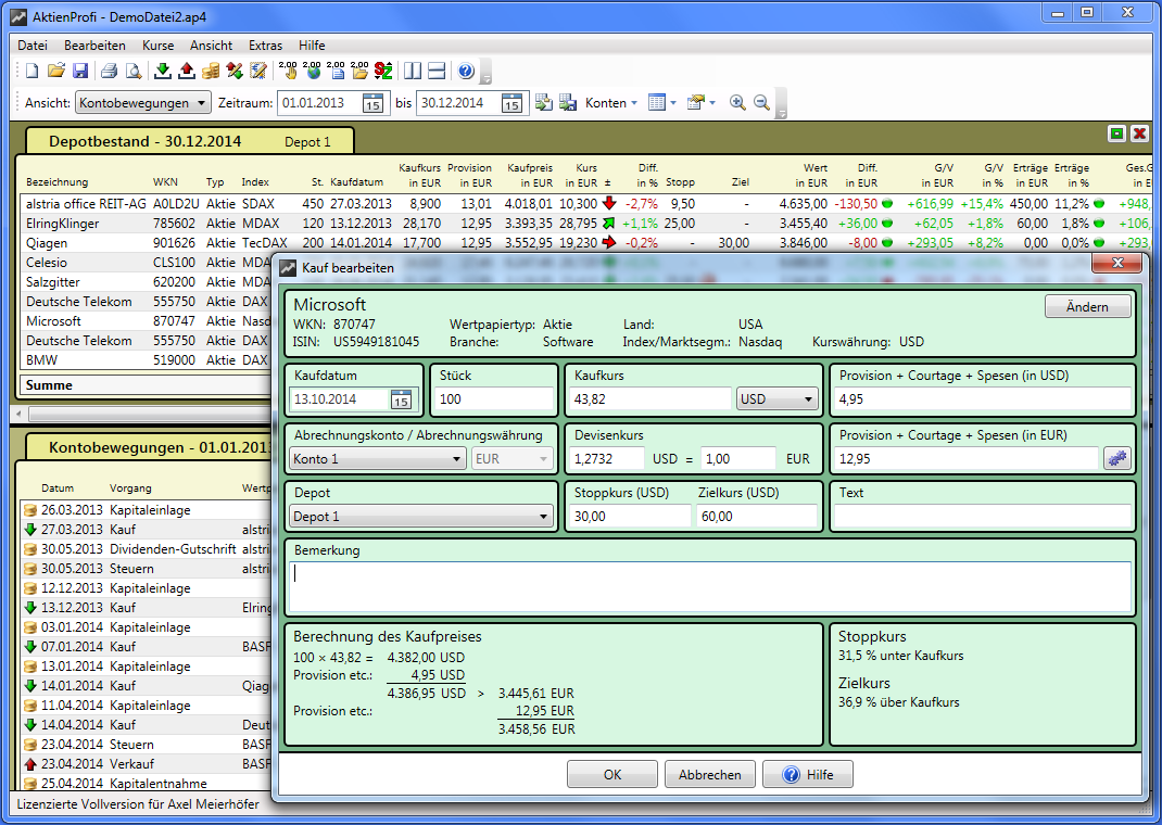Screenshot vom Programm: AktienProfi Depotverwaltung