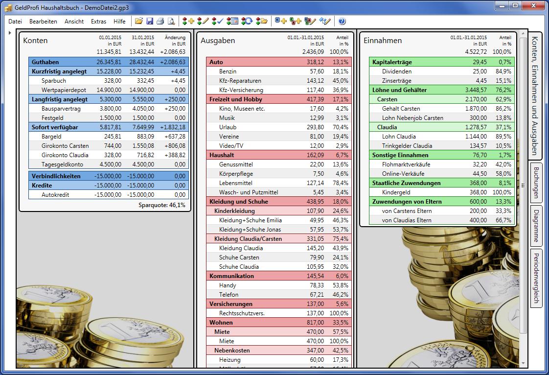 Screenshot vom Programm: GeldProfi Haushaltsbuch